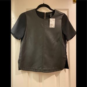 H&M Short Sleeve Faux Leather Top
